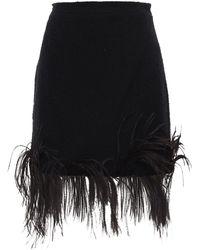 Patou Minirock aus Baumwoll-Tweed mit Federn - Schwarz