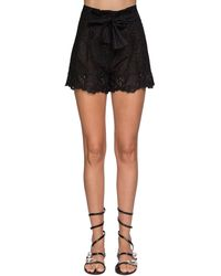 Ermanno Scervino Ruffled Sheer Lace Shorts - Black