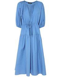 Weekend by Maxmara Cotton Poplin & Nylon Long Dress - Blue