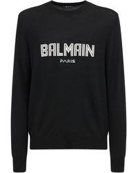 Balmain メリノウールニットセーター - ブラック