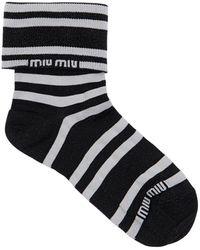 Miu Miu Socken Aus Lurex Mit Logo - Schwarz
