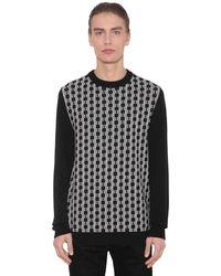 Balmain ウール モノグラムロゴセーター - ブラック