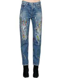 Calvin Klein - High Rise Paint Splatter Denim Jeans - Lyst