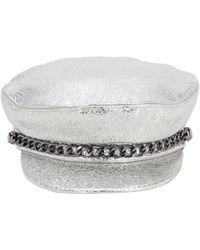 Eugenia Kim Marina Metallic Leather Hat W/chain