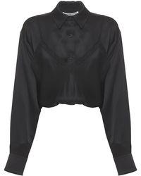 Alexander Wang Camisa De Seda Con Camisola - Negro