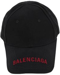 Balenciaga Logo Embroidered Gabardine Baseball Hat - Black