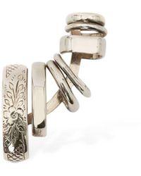 Alexander McQueen Left Side Multi Hoop Mono Earring - Metallic