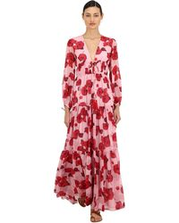 Borgo De Nor Floral Print Silk Georgette Maxi Dress - Red