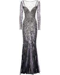 Zuhair Murad Sequined Tulle Long Dress - Multicolour