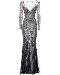 Zuhair Murad Платье Из Тюля С Пайетками - Многоцветный