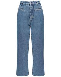 Loewe - Cropped Fisherman Cotton Denim Jeans - Lyst