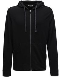 James Perse Vintage Cotton French Terry Zip Hoodie - Black