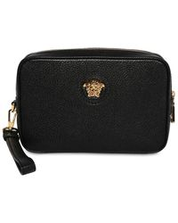 Versace Leather Zip Around Pouch - Black