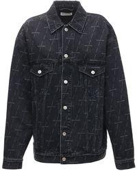 Balenciaga Куртка Из Смешанного Хлопка С Принтом - Синий