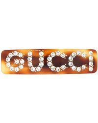 Gucci - クリスタルロゴ ヘアバレッタ - Lyst
