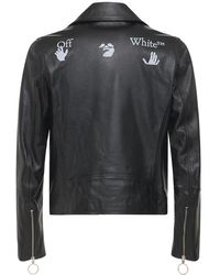 Off-White c/o Virgil Abloh Veste Biker En Cuir Avec Logo - Noir