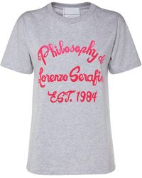 Philosophy Di Lorenzo Serafini Logo Printed Cotton T-shirt - Grey