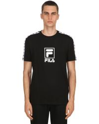 Fila - Jersey T-shirt W/ Sleeve Logo Bands - Lyst