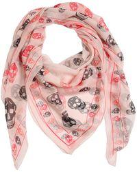 Alexander McQueen Printed Multi Skull Silk Chiffon Scarf - Pink