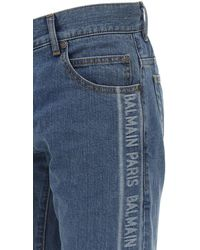 Balmain 15cm Enge Jeans Aus Stretch-jacquarddenim - Blau