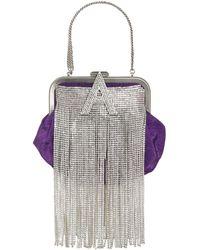 The Attico Mini Moiré Doctor Bag W/crystal Fringe - Purple