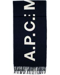 A.P.C. Schal Aus Wolljacquard - Blau