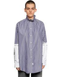 Balenciaga - Oversized Newspaper Striped Poplin Shirt - Lyst