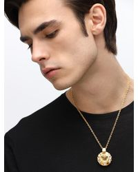 Versace Palazzo Medusa Necklace W/ Crystals - Mettallic