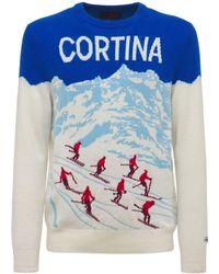 Mc2 Saint Barth Cortina ウールブレンドニットセーター - ブルー