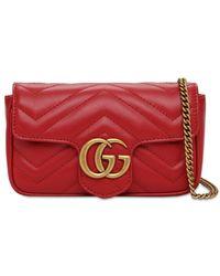 Gucci - Кожаная Сумка Super Mini Gg Marmont - Lyst