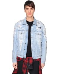 DIESEL - Layered Destroyed Denim Jacket - Lyst