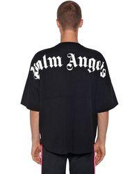 Palm Angels Printed Cotton Jersey T-shirt - Black