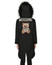 Moschino Hooded Felt Parka Coat - Black