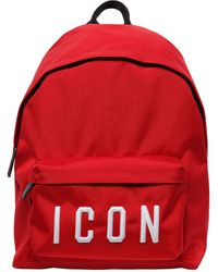 DSquared² Icon ナイロンキャンバスバックパック - レッド