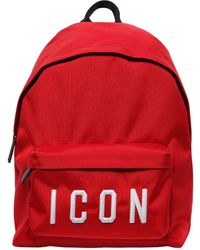 DSquared² Rucksack Aus Nyloncanvas Mit Icon-patches - Rot