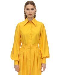 Emilia Wickstead Camicia In Gabardina Di Lana - Giallo
