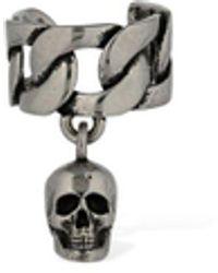 Alexander McQueen Chain Mono Ear Cuff W/ Skull - Metallic
