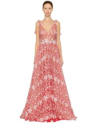 Luisa Beccaria - Floral Embroidered Tulle Dress - Lyst