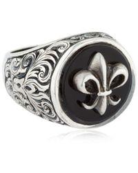 "Cantini Mc Firenze Ring Aus Silber Mit Onyx ""fleur-de-lis"" - Mettallic"