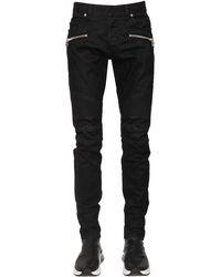Balmain Jeans Tapered Fit Stonewash Monogram 16.5Cm - Nero