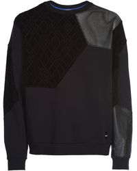 Koche Multi Fabric Hexagon Viscose Sweatshirt - Black