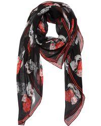 Alexander McQueen - Printed Sheer Silk Chiffon Scarf - Lyst