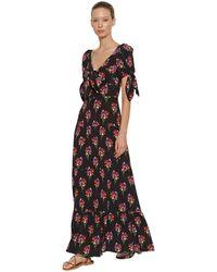 Borgo De Nor Платье Из Шелка С Принтом - Черный