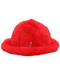 Kangol Leopard Print Faux Fur Hat - Red