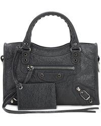 Balenciaga Mini City Leather Top Handle Bag - Gray