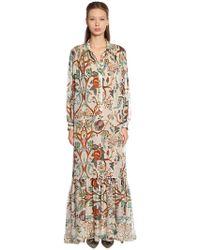Alberta Ferretti - Khadi Floral Print Silk Chiffon Dress - Lyst