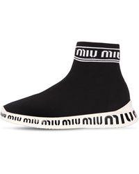 Miu Miu - 20mm Logo Knit Sock Trainers - Lyst