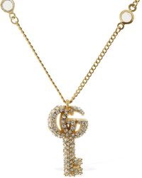 Gucci Double G Key Necklace W/ Crystals - Metallic
