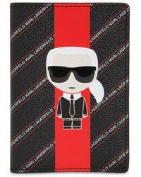 Karl Lagerfeld Porta Pasaporte De Piel Sintética - Negro