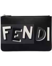 """Fendi Кожаный Клатч """"vocabulary"""" С 3d Логотипом - Черный"""
